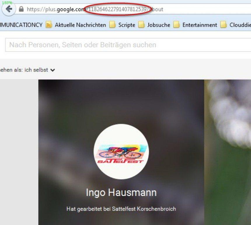 Google Plus ID aus der Adresszeile beziehen